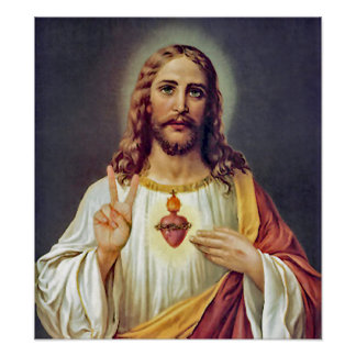 Jesus Peace Sign Sacred Heart Poster