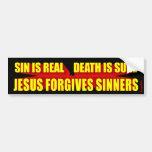 Jesús perdona a pecadores etiqueta de parachoque