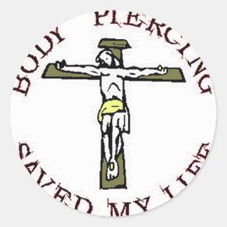 """Jesús """"perforación del cuerpo """" pegatina redonda"""
