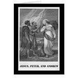 Jesús, Peter, y Andrew, litografía del siglo XIX Felicitación