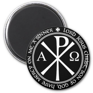 Jesus Prayer with Chi-ro black and white in circle 2 Inch Round Magnet