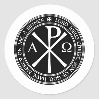 Jesus Prayer with Chi-ro black and white in circle Classic Round Sticker