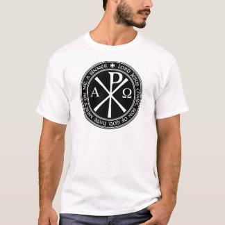 Jesus Prayer with Chi-ro black and white in circle T-Shirt