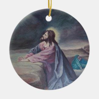 Jesus Praying at Gethsemane Ceramic Ornament