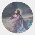 Jesus Praying at Gethsemane Round Stickers