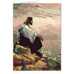 Jesus Praying on a mountainside Card