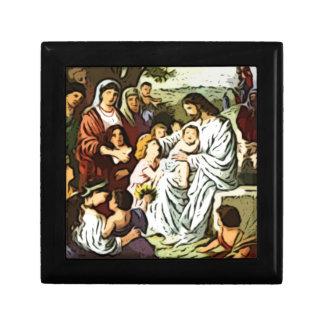 Jesús que bendice a los niños cajas de joyas