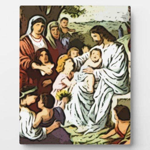 Jesús que bendice a los niños placas de plastico