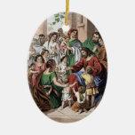 Jesús que bendice a los pequeños niños que pintan  adorno de reyes