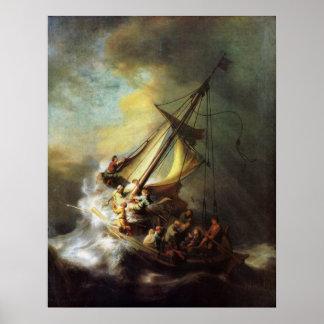 Jesús que calma la tormenta en el mar de Galilea Póster