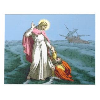 Jesús que camina en el agua libretas para notas