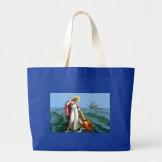 Jesús que camina en el agua bolsas de mano
