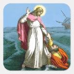 Jesús que camina en el agua colcomania cuadrada