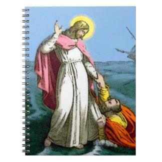 Jesús que camina en el agua libros de apuntes con espiral