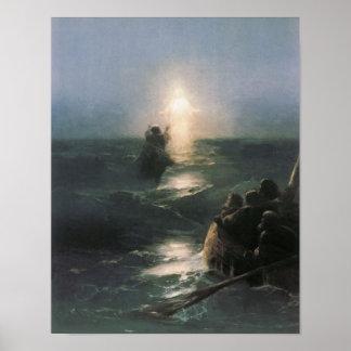 Jesús que camina en el agua, pintura de Ivan Aivaz Impresiones
