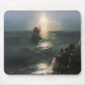 Jesús que camina en el agua, pintura de Ivan Aivaz Tapetes De Ratones