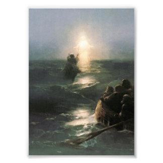 Jesús que camina en los mares tempestuosos arte fotográfico