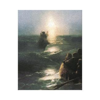 Jesús que camina en los mares tempestuosos impresión en lienzo estirada
