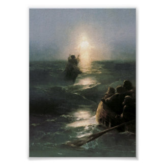 Jesús que camina en los mares tempestuosos poster