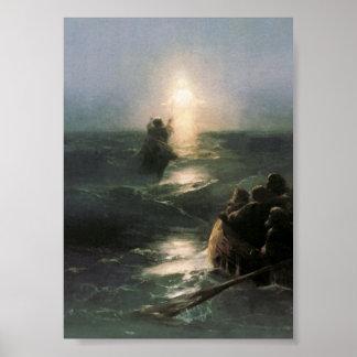 Jesús que camina en los mares tempestuosos póster
