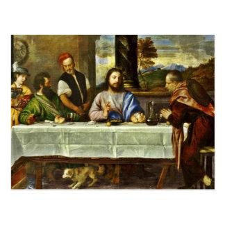 Jesús que cena en el hogar de Emmaus Tarjetas Postales