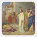 Jesús que cura al leproso, 1864 calcomanías cuadradass personalizadas