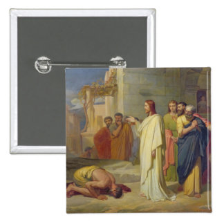 Jesús que cura al leproso, 1864 pin cuadrada 5 cm