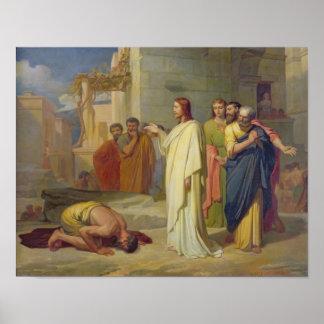 Jesús que cura al leproso, 1864 póster