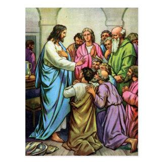 Jesús que enseña a un nuevo mandamiento postales