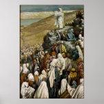 Jesús que enseña al poster del sermón de la montañ