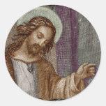 Jesús que golpea en puerta etiquetas redondas