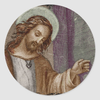 Jesús que golpea en puerta pegatina redonda