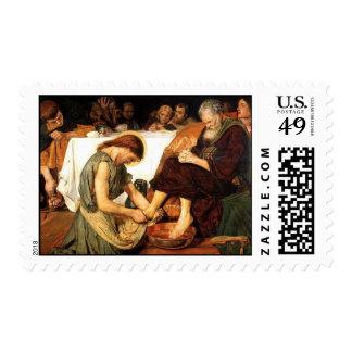 Jesús que lava el franqueo de los pies de los timbres postales