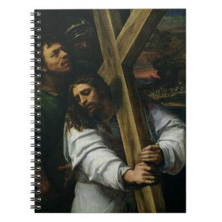 Jesús que lleva la cruz, c.1535 (aceite en el pane libro de apuntes con espiral