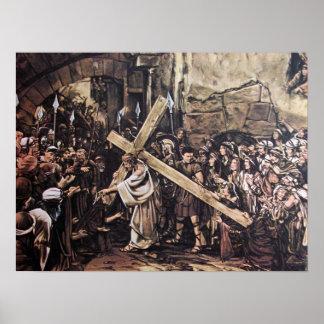 Jesús que lleva la cruz poster