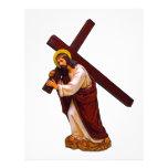 Jesús que lleva la figura cruzada plantilla de membrete