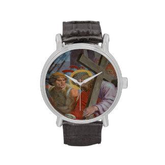 Jesús que lleva su cruz relojes de mano