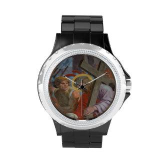 Jesús que lleva su cruz reloj de mano