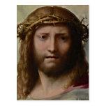Jesús que lleva una corona de espinas postales
