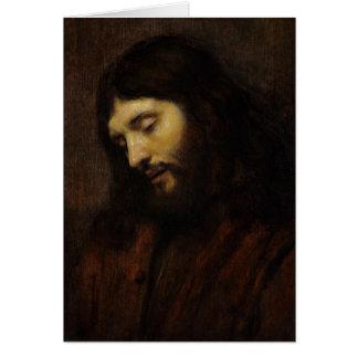Jesús que mira hacia abajo tarjeta de felicitación