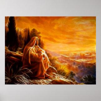 Jesús que piensa en la gente (usted) posters
