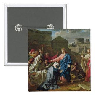 Jesús que resucita al hijo de la viuda de Naim Pin Cuadrado
