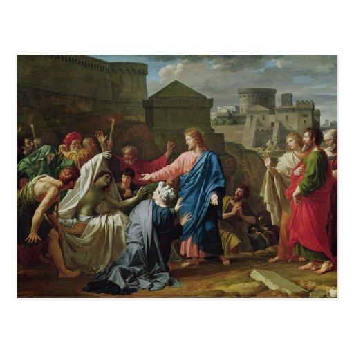 Jesús que resucita al hijo de la viuda de Naim Tarjetas Postales