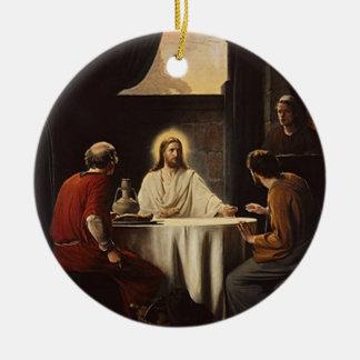 Jesús que rompe el ornamento religioso de la adorno redondo de cerámica
