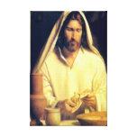 Jesús que rompe la lona envuelta pan lona estirada galerias