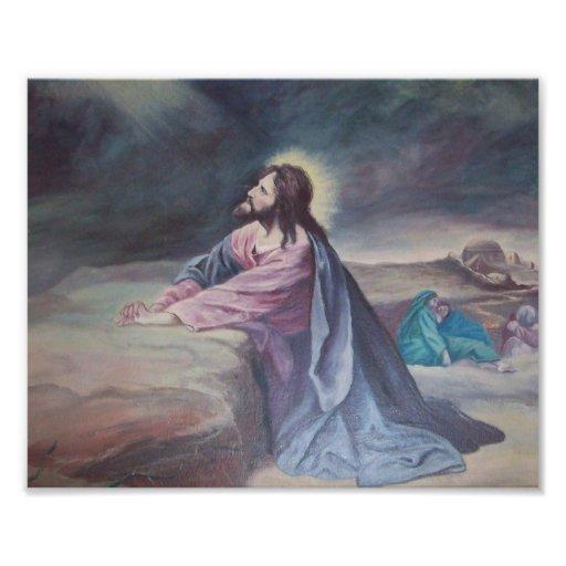 Jesús que ruega en Gethsemane Fotografia