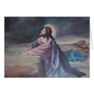 Jesús que ruega en Gethsemane Tarjeta De Felicitación