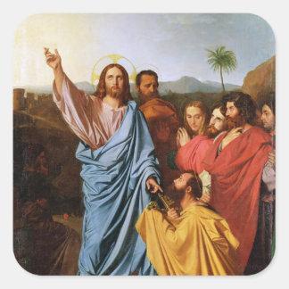 Jesús que vuelve las llaves a San Pedro, 1820 Pegatina Cuadrada