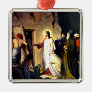Jesus Raising Lazarus from the Dead Metal Ornament