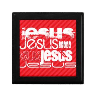 Jesús; Rayas del rojo del escarlata Caja De Regalo Cuadrada Pequeña